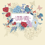 Vintage Floral Greeting Card with Birds and Stock Photography