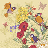 Vintage Floral Greeting Card with Birds and Royalty Free Stock Photo