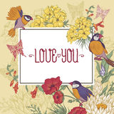Vintage Floral Greeting Card with Birds and Royalty Free Stock Image