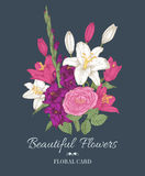 Vintage floral greeting card with bouquet of lilies, gladiolus and rose. Royalty Free Stock Images