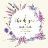 Vintage floral greeting card, bouquet of thistles Stock Images