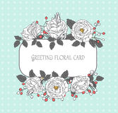 Vintage floral greeting card. Frame of flowers. Vector illustrat Stock Photo