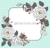 Vintage floral greeting card. Frame of flowers. Vector illustrat Royalty Free Stock Photography