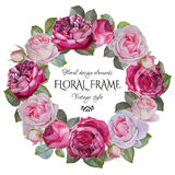 Vintage floral greeting card with a frame of watercolor roses. Stock Photos