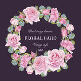 Vintage floral greeting card with a frame of watercolor roses. Royalty Free Stock Photography