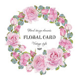 Vintage floral greeting card with a frame of watercolor roses. Wreath of flowers. Illustration Royalty Free Stock Images
