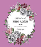 Vintage floral greeting card Royalty Free Stock Images
