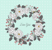 Vintage floral greeting card. Round frame of flowers. Stock Photography