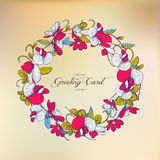 Vintage floral greeting card. Round frame of flowers. Stock Image