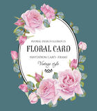Vintage floral greeting card with watercolor roses Royalty Free Stock Images