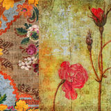 Vintage Floral Grunge Scrapbook Background. A rich, textural background featuring vintage floral designs. Use as wall art, or for scrapbooking and digital stock image