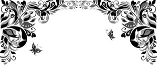 Vintage floral heading (black and white) Royalty Free Stock Images