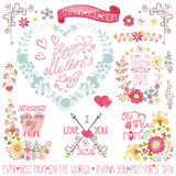 Vintage Floral heart wreath,headline,decor set Stock Photo