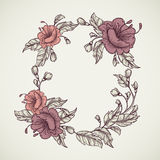 Vintage floral highly detailed hand drawn bouquet of flowers located in elliptical form frame.Retro banner, invitation, wedding ca Stock Image