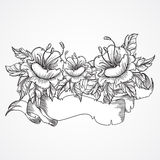 Vintage floral highly detailed hand drawn bouquet of flowers and ribbon banner in black and white. Victorian Motif, tattoo design Royalty Free Stock Photos