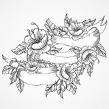 Vintage floral highly detailed hand drawn bouquet of flowers and ribbon banner in black and white. Victorian Motif, tattoo design Stock Image