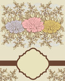 Vintage floral invitation card Royalty Free Stock Images