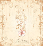 Vintage floral invitation card Royalty Free Stock Image
