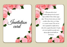 Vintage floral invitation template with hand drawn flowers and border. Illustration in retro style. Vetor Royalty Free Stock Image
