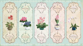 Vintage floral labels Stock Photos