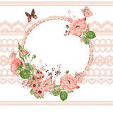 Vintage floral lace background with roses Stock Photos