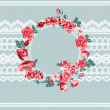 Vintage floral lace background with roses Royalty Free Stock Photography