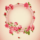Vintage floral lace background with roses Royalty Free Stock Image