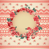 Vintage floral lace background with roses Royalty Free Stock Photos