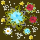 Vintage floral and leaves pattern in vector. Daisy, poppy, daffodil, yarrow and cosmos flowers isolated on dark brown background.  royalty free illustration