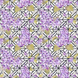 Vintage Floral Lilac Geometry Background. Seamless pattern for design, scrapbook - in vector Stock Image
