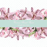 Vintage floral Lily flowers card border Stock Image