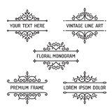 Vintage floral line art frame Royalty Free Stock Photography