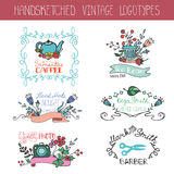 Vintage floral logotype set.Doodle hand drawing Royalty Free Stock Image