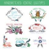 Vintage floral logotype set.Doodle hand drawing royalty free illustration