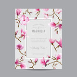Vintage Floral Magnolia Frame for Invitation Royalty Free Stock Photos