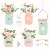 Vintage Floral Mason Jar vector illustration
