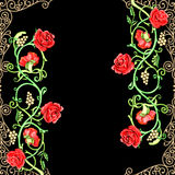 Vintage floral motif of red roses Stock Image