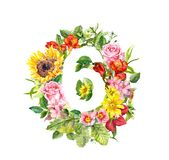 Vintage floral numeral 6 - six from wild flowers and meadow grass. Water color royalty free illustration