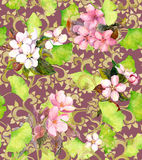 Vintage floral ornament. Seamless watercolor ornament Stock Images