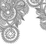 Vintage floral ornamental black and white card Royalty Free Stock Image