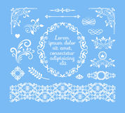 Vintage Floral Ornamental Elements and Frames. Seamless Vector Vintage Floral Ornamental Elements and Frames on Sky Blue background Royalty Free Stock Photos