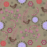 Vintage floral pattern. Vintage stylized floral seamless pattern with birds royalty free illustration