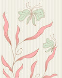 Vintage floral pattern with butterflies Royalty Free Stock Image