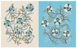 Vintage Flowers Pattern soft color blue and brown vector illustration