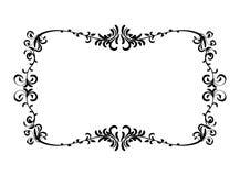 Vintage floral pattern frame. Black wedding frame silhouette template. Vintage floral pattern mock up vector illustration. Greeting invitation border design Stock Photos