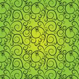 Vintage floral pattern on a green background. Curves lines with flowers (seamless texture Stock Illustration