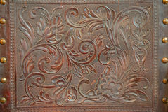 Vintage floral pattern on leather Royalty Free Stock Photos