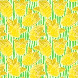 Vintage floral pattern with yellow tulips Royalty Free Stock Images