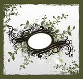 Vintage floral ribbon. Decorative elements on eroded background with flowers and ink blot Stock Image