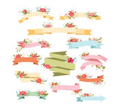 Vintage Floral Ribbon Banners. Hand Drawn vintage floral elements for design Royalty Free Stock Photo